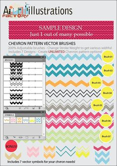 Chevron Stripes Vector Brushes and Symbols by ArtinspireFactory, $12.00