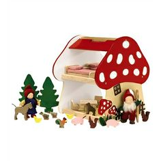 Sturdy Wooden 2-Story Mushroom Gnome House with Accessories