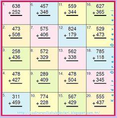 ilkokul ödevleri: 3. sınıf eldeli toplama işlemi