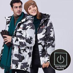 Large Size 8XL Men Women Outdoor Winter Jackets Thicken Thermal Waterproof USB Electric Heated Coats Climbing Camping Jacket Thermal Jacket, Hiking Jacket, Types Of Jackets, Outdoor Woman, Girls Be Like, Outdoor Gear, Climbing, Sportswear, Windbreaker