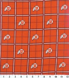 Univeristy of Utah NCAA Plaid Flannel Fabric