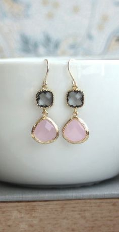 Pink and Grey Wedding. Pink Opal Ice Pink, Gold Framed Gray Glass Dangle Earrings. Wedding, Bridal Bridesmaids Gift. By Marolsha.