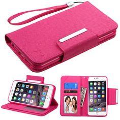 MYBAT D'Lux Leather Wallet iPhone 6 Plus / 6s Plus(5.5) Case - Hot Pink