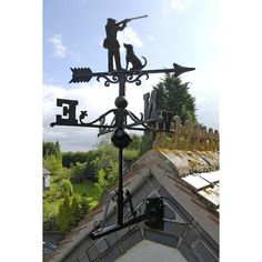 Cast Iron Rooster Cockerel Weathervane Wind Vane With Multi-Positional Bracket Weather Vain, Windy Weather, Roof Brackets, Cast Iron, It Cast, Large Sheds, Cat Mouse, Classic Image, Galo