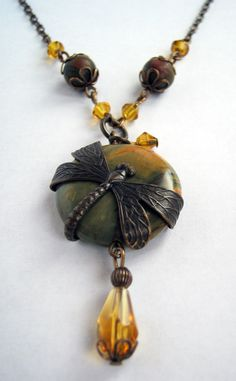Vintaj Brass and Jasper Dragonfly Wrapped Necklace. $45.00, via Etsy. GREAT WORK She is a fantastic designer