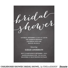 CHALKBOARD SHOWER | BRIDAL SHOWER INVITATION