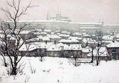 Hradcany in snow / Painting by Tavik Frantisek Simon