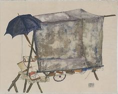 Egon Schiele, Streetcar, 1914.➕More Pins Like This At FOSTERGINGER @ Pinterest✖️