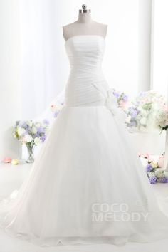 Romantic A-Line Strapless Dropped Train Organza Ivory Sleeveless Lace Up-Corset Wedding Dress with Ruched h7ai0053 #weddingdress #cocomelody