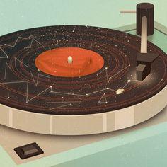 Galactic Plastic by Jack Hughes on Sterlizie Blog #sterlizieblog #vinyl #jackhughes #digitalart #turntable #constellation