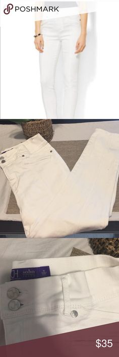 Jennifer Hudson soho white jeans Like new white soho jeans by Jennifer Hudson ankle crop jeans perfect condition pure white no stains jennifer hudson Jeans Ankle & Cropped