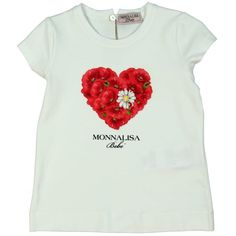 Monnalisa Girl's White T-Shirt with Red Floral Heart and Daisy Print. Available now at www.chocolateclothing.co.uk #childrenswear #minifashion #Monnalisa #chocolateclothing