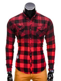 KOSZULA K386 - CZERWONA - Sklep Ombre Plaid, Shirts, Tops, Women, Fashion, Moda, Scotch, Shell Tops, Shirt