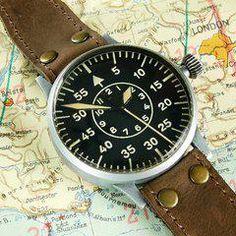 Vintage Laco B-Uhr German Pilot Watch Vintage Military Watches, Luftwaffe, Watch Sale, Pilot, German, Deutsch, German Language, Pilots, Remote