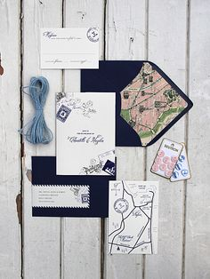 Parisian inspired Stationery Suite with Vintage Map Lined Envelope