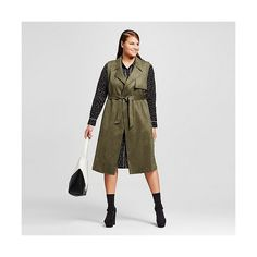 Women's Plus Size Suede Sleeveless Trench Vest Late Night Green ($55) ❤ liked on Polyvore featuring outerwear, vests, green, plus size, green vest, green waistcoat, suede trench coat, plus size womens vest and sleeveless trench vest