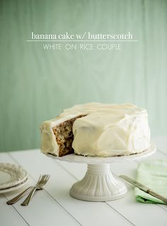 Banana cake with butterscotch frosting