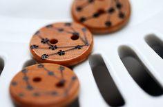 Cherry Blossom Wooden Buttons Woodburning by LiDDesignsSupplies, $ 6.00