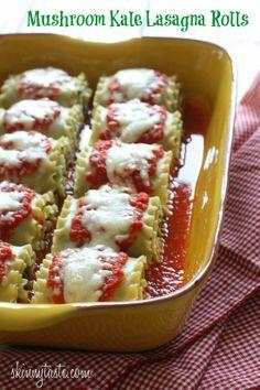 Mushroom Kale Lasagna Rolls   Skinnytaste