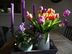 Late afternoon sun on my kitchen table.  Stunning light on the tulips