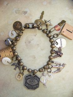 Vintage items repurposed as charms