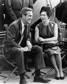 American actor Paul Newman sitting with HRH The Princess Margaret, Countess of Snowdon