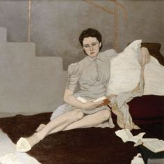 Girl in Grey (1939), Louis le Brocquy, Oil on canvas, 93 x 93 cm.
