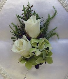 Mini white rose & green hydrangea - Corsage and Boutonniere Flowers