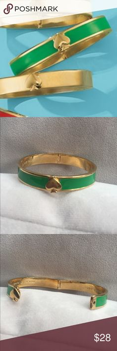*Kate Spade* Kate Spade New York live colorfully green hinged bracket with gold accents kate spade Jewelry Bracelets