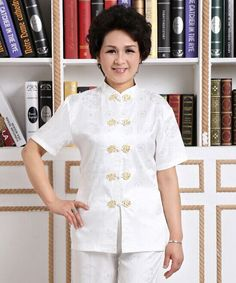 White Chinese Women's Silk Tops/Shirt Blouse Cheongsam Sz: M L Xl 2Xl 3Xl