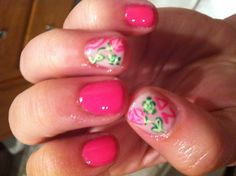 Delta Zeta Lilly Pulitzer nails Sorority Nails, Delta Zeta, Donate To Charity, Lilly Pulitzer, Preppy, Mountain, Letters, Pink, Hair