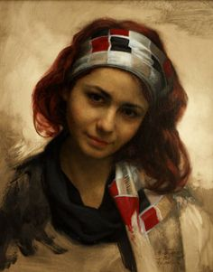 Cesar Santos (born 1982) Cuban-American, studied at Miami Dade College and the New World School of the Arts before travelling to Florence, where he trained at the Angel Academy of Art under the tutelage of Michael John Angel a student of Pietro Annigoni. He returned to Miami, where he developed his philosophy of marrying both the classical and the modern juxtaposed within one painting.
