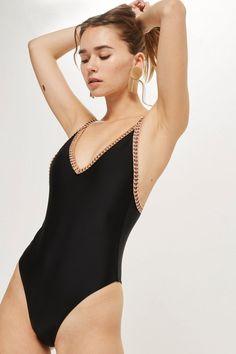 489583aa97 Crochet Plunge Swimsuit - Swimwear & Beachwear - Clothing - Topshop USA