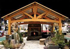 backyard pavilion kits   Outdoor Living Room with a fireplace   Timber Frame Pavilion Kits: