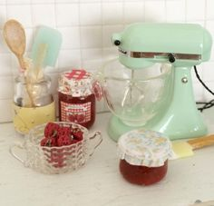 Cynthia's Cottage Miniatures - Vintage kitchen love.  Mixer: Mrs. Who's Crafts