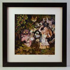 "Alice in wonderland: ""Other Alice II"", mixed media shadow box"