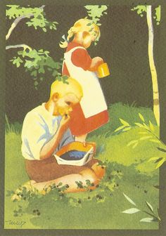 Card received from Snowflower (Jaana) in - Finland. Illustrations Posters, Vintage Art, Painting Illustration, Pictures To Draw, Vintage Illustration Children, Illustration Art, Art, Christian Art, Vintage Illustration