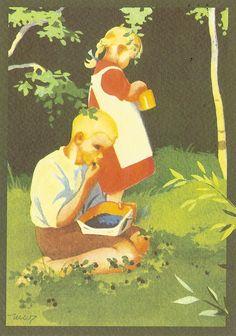Card received from Snowflower (Jaana) in - Finland. Vintage Postcards, Vintage Images, Vintage Art, Illustrations Posters, Vintage Illustrations, Scandinavian Art, Art Clipart, Children's Book Illustration, Christian Art