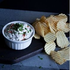 Roasted shallots and garlic make this helathy greek yogurt dip.