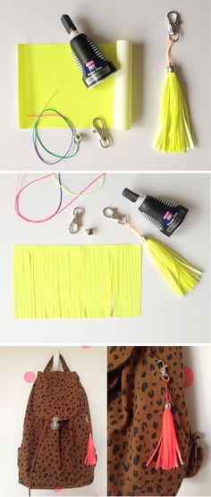 DIY tassel neon reflector | DIY neon heijastintupsu Hobbies And Crafts, Diy And Crafts, Arts And Crafts, Diy Tassel, Tassels, Bike Decorations, Diy Clothes Accessories, Arabesque Tile, Neon