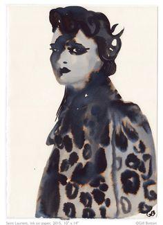 'Honest' fashion illustration by Gill Button Diane Arbus, Vogue Korea, Silhouette Mode, Harper's Bazaar, Pose, Illustration Sketches, Fashion Illustrations, English Artists, Oil Portrait
