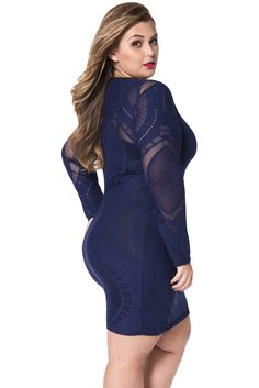 Long Sleeve Illusion Bodycon Dress