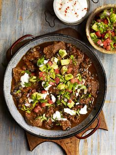 Debbie Major's chilli con carne with avocado and chilli salsa is about more than heat – the combination of chillies used gives an amazing depth of flavour.