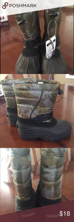 Brand new Snow Boots Kids Sz 2 Brand new snow boots. Kids Size 2. Camouflage in color. Temperature rated -5 degrees Fahrenheit. Cute little boots my son never used. Shoes Rain & Snow Boots