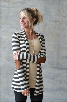 "Beautiful basic striped cardigan with super cute elbow patches that added a touch of fall! Super comfy and soft and looks great. - Length from shoulder to hem: S-31.5"", M-32"", L and XL-32.5"" - Bust: S"