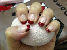 red and gold french nails