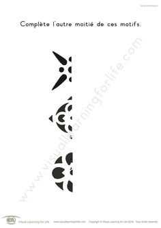 Dans les fiches de travail « Motifs symétriques » l'élève doit dessiner l'image en miroir de chaque motif pour le compléter.