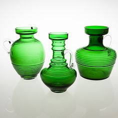 "TAMARA ALADIN - Glass vases ""Kleopatra"" designed 1969 for Riihimäen Lasi Oy, 1970-73, Finland.   [h. 25 cm] Glass Design, Design Art, Bukowski, Glass Collection, New Pins, Aladdin, Modern Contemporary, Scandinavian, Glass Art"