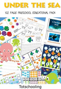 FREE Ocean theme preschool pack featuring 52 pages of educational activities with fish and ocean animals. Great for Summer learning or an Ocean unit for toddlers and preschoolers!