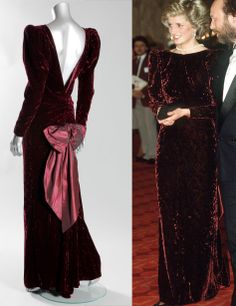 A Catherine Walker burgundy crushed velvet evening gown, worn for a State visit to Australia and to the film premiere of Back to the Future, 1985